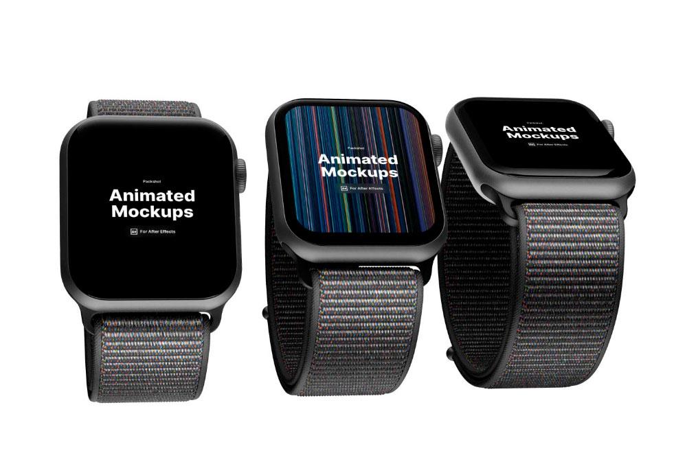 three apple watch animated