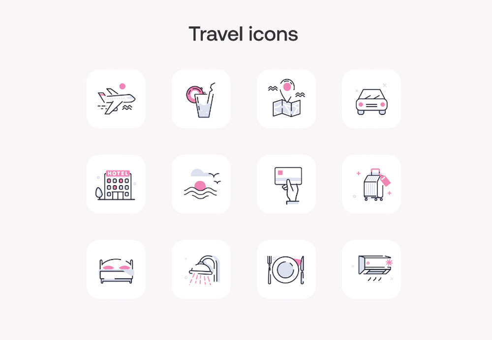 travel icons animated