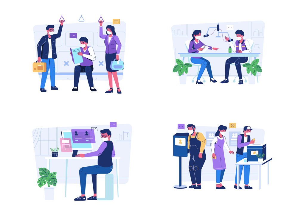 illustrations of people work from home