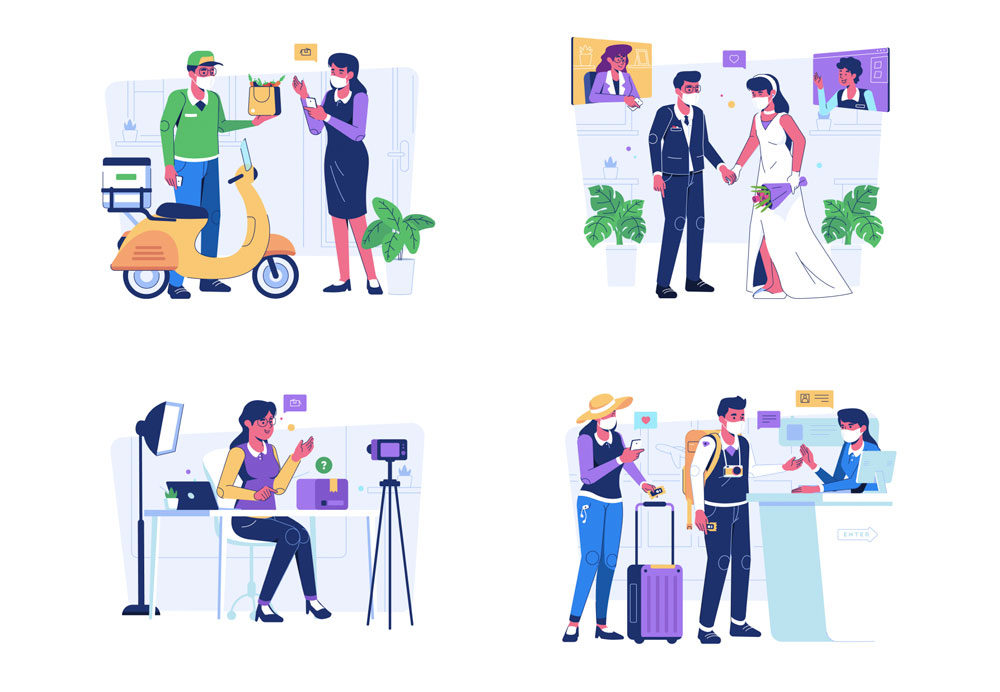 different illustrations people to work