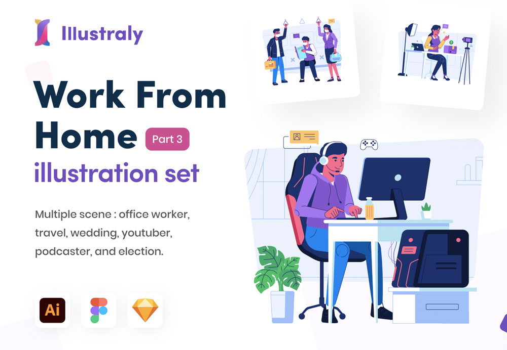 work from home illustration of illustraly