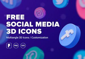free social media 3d icons