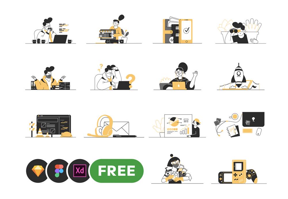 illustrations vector set