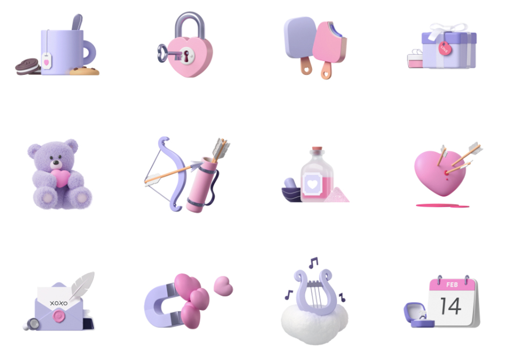 icons illustration for valentine's day