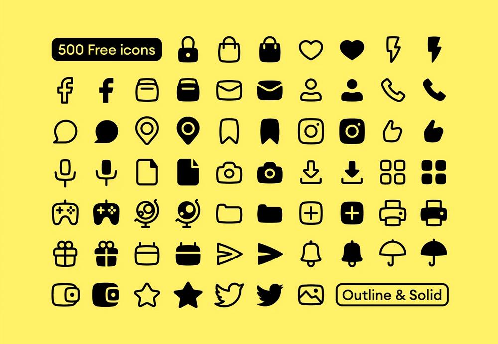 grid icons as mail, phone, folder, social
