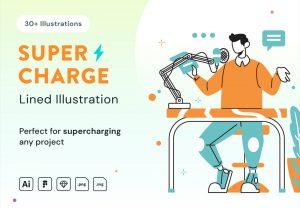 guy on desk working illustration
